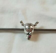 ❤️ 925 Sterling Silver Little Girl Pigtails Doll Charm Bead Pandora Bracelets