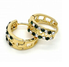New 9CT Gold Filled Huggie Hoop, with Green and White Crystals  234