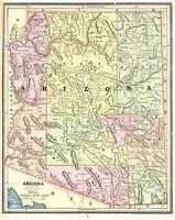 1891 Antique MAP of ARIZONA George Cram Arizona State Map Gallery Wall Art 8421