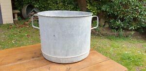 Genuine Vintage Galvanised Round Tub. Tree Garden Herb Planter, Container #121