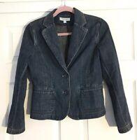Ann Taylor Women's Denim Jacket Size SP Blue Jean Cotton Button Front Blazer