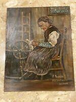 "VTG Original Acrylic Painting  Old Woman Knitting 13x17"" Wood German Artists"
