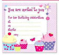 10 PARTY INVITATIONS CUPCAKES envelopes birthday kids adult flowers