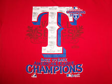 MLB Texas Rangers Baseball 2011 AL Champs World Series Red Graphic T Shirt - L