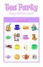 Tea Party Birthday Party Game Bingo Cards