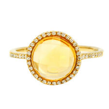 14K YELLOW GOLD DIAMOND & CHECKERBOARD CITRINE COCKTAIL ENGAGEMENT HALO RING