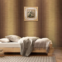 striped Wallpaper plaid gold bronze Metallic Textured Plain stria lines rolls 3D