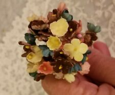 Vtg Millinery Flowers Forget Me Not Cluster ~ Brown Orange Green Yellow ~ Rustic