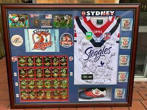 2013 SYD ROOSTERS SIGNED FRAMED EMBROIDERED JERSEY BY  SQUAD BOOT,COASTERS