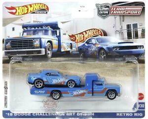 Hot Wheels Team Transport #30 18 Dodge Challenger SRT Demon Retro Rig