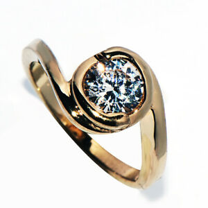 Classis 9K Gold Filled Round Crystal Stone Ring for Womens Female Rings Size 5