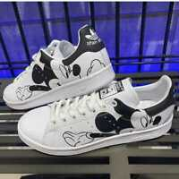Adidas Originaux Stan Smith Mickey Mouse Blanc Noir Baskets UK Taille 6-12
