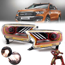 For 2015+ Ford Ranger Wildtrak T6 Head Lamp Ironman Mustang Style LED Projector