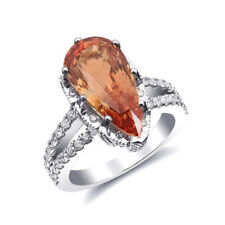 Natural Unheated Orange Sapphire 5.25 carats set in 14K White Gold Ring