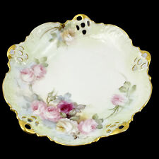 "Antique Rosenthal Moliere Bavaria Hand Painted Berry Bowl 10"" Pink Roses Gold"