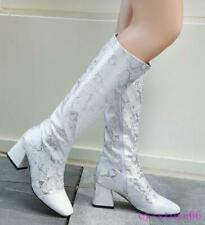 Womens Square Toe Fashion Snakeskin Leather Knee-high Boots Chunky Heels Shoes
