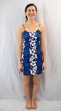 Vintage 80s KY'S Hawaiian Blue Floral Print Wiggle Dress Size 2XS Made in Hawaii