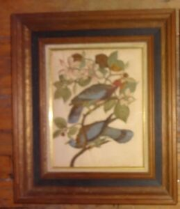 Vintage 3-D Stuffed Raised Cloth Trapunto Picture Game Birds Wood Frame 13X15 BS