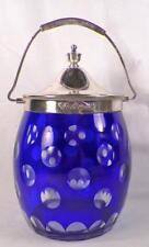 Blue Bohemian Glass Biscuit Jar Cracker Silverplate Lid Handle Cut Glass Vintage