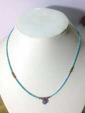 Afghan Natural Turquoise, Garnet Tiny Seed Beads Necklace with Amethyst Pendant