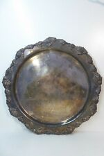 VINTAGE SILVER PLATED TRAY STRACHAN OLD SHEFFIELD PLATE GRAPE VINE EDGE