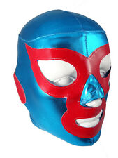 NACHO LIBRE Adult Lycra Lucha Libre Wrestling Mask - Teal Blue/Red