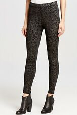NEW Free People black gray Leopard Thick Stretchy Seamed Elastic Waist Legging S