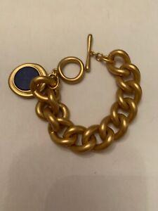 NWOT  Sample Brooks Brothers Gold Tone Chain Bracelet Blue Stone J4-2