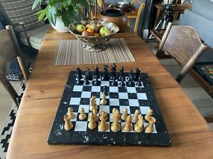 """Chess Set Vintage Pieces On Marble Board 16"""" X 16"""""""