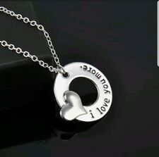 I LOVE YOU MORE Silver Plated Round w/ Heart Pendant Necklace. Gift!