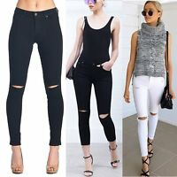 Women Casual Stretch Ripped Denim Skinny Jeans Pants High Waist Pencil Trousers