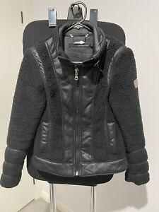 Calvin Klein Jeans Womens Sherpa Leather Look Black Full Zip Jacket Size XS