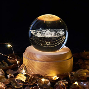 Musical space crystal ball light projector/night light with wooden base