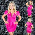 Sz 10 12 Pink Peplum Cap Sleeve Sexy Formal Gown Party Wear Cocktail Club Dress
