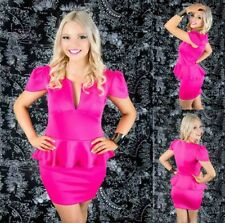 Sz 12 14 Pink Peplum Cap Sleeve Sexy Formal Gown Party Wear Cocktail Club Dress