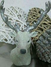 testa di cervo bianco con glitter in piedi decorazione stile country HIRSCH