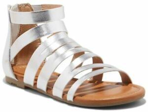 Cat & Jack Irka Silver Gladiator Sandals - Youth Girls Size 5 - NEW