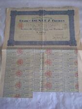 Vintage share certificate Stocks Bonds Etablissements Deneux Frères 1924