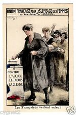 POSTCARD FRENCH UNION FOR WOMEN'S SUFFRAGE SIGNED CHAVAUNAZ