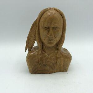 "Vintage Hand Carved Wood Native American Indian Warrior Figurine Signed 5"""