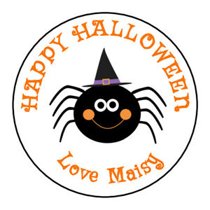 Halloween Spider Personalised Thank You Stickers Party Sweet Cone Birthday treat