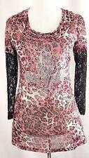 Lady Noiz Tunic Size S Pink Animal Print Fleur De Lis Top Floral Lace Sleeves