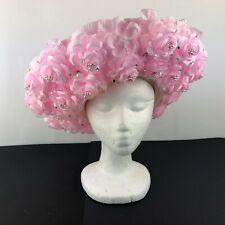 JFY New York Womens Wide Pink Straw Cartwheel Derby Statement Church Hat FLOWERS