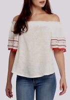 Vintage America GIA Top White Red Pom Pom Off/On Shoulder Tunic Stretch NWT$70