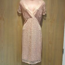 BNWT Jane Norman Ladies Dress Size 18 Scalloped Lace Open Back Midi Floral Pink