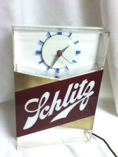 Schlitz lighted clock beer sign blue moon 1959 bar light register topper HZ2