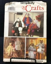 """Simplicity Crafts 9336 Bunny And Cat 24"""" Stuffed Dolls And Clothes Uncut Pattern"""