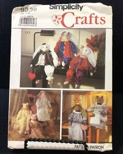 "Simplicity Crafts 9336 Bunny And Cat 24"" Stuffed Dolls And Clothes Uncut Pattern"