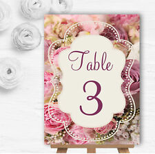 Absolutely Beautiful Pink Flowers Personalised Wedding Table Number Name Cards