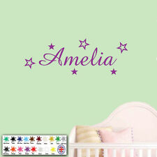 Personalised Name Stars Wall Sticker - Art Decal Boy or Girls Childrens Room